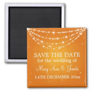 Elegant Save The Date Sparkling Chain Orange 2 Inch Square Magnet