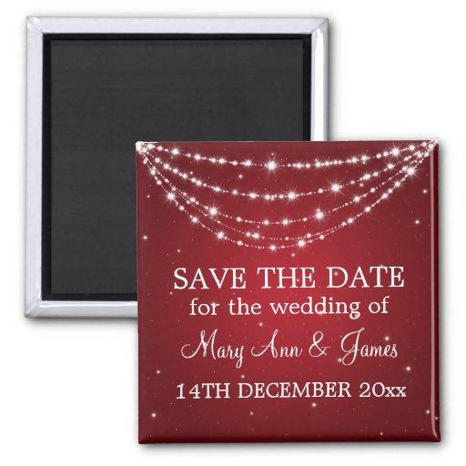 Elegant Save The Date Sparkling Chain Red Fridge Magnet