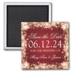 Elegant Save The Date Sparkling Lights Gold 2 Inch Square Magnet