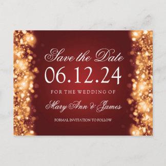 Elegant Save The Date Sparkling Lights Gold Announcement Postcard