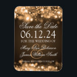 "Elegant Save The Date Sparkling Lights Gold Magnet<br><div class=""desc"">Elegant wedding &quot;Save The Date&quot; design with Sparkling Lights Gold,  and custom names and date text.</div>"