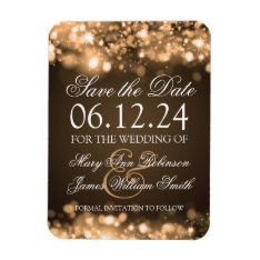 Elegant Save The Date Sparkling Lights Gold Magnet at Zazzle