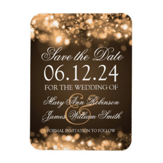 Elegant Save The Date Sparkling Lights Gold Magnet