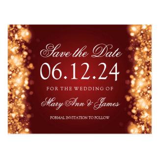 Elegant Save The Date Sparkling Lights Gold Postcard