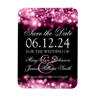 Elegant Save The Date Sparkling Lights Pink Rectangular Photo Magnet