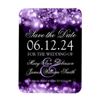 Elegant Save The Date Sparkling Lights Purple Magnet