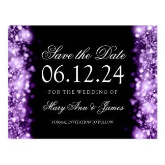 Elegant Save The Date Sparkling Lights Purple Postcard