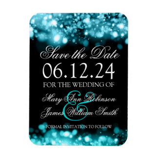 Elegant Save The Date Sparkling Lights Turquoise Magnet