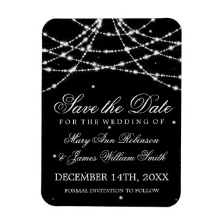 Elegant Save The Date Sparkling String Black Magnet
