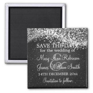Elegant Save The Date Sparkling Wave Black 2 Inch Square Magnet
