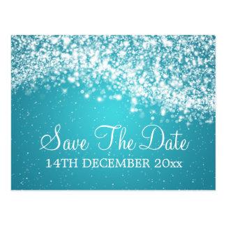 Elegant Save The Date Sparkling Wave Blue Postcards