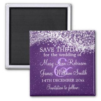 Elegant Save The Date Sparkling Wave Purple 2 Inch Square Magnet