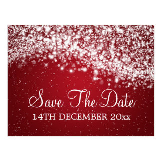 Elegant Save The Date Sparkling Wave Red Postcard