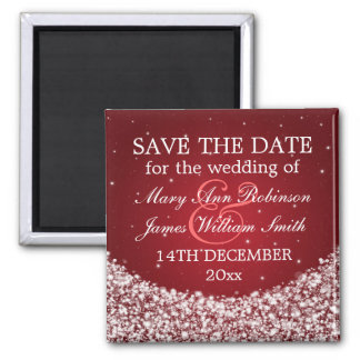 Elegant Save The Date Star Sparkle Red 2 Inch Square Magnet