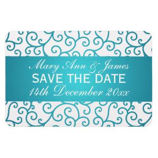 Elegant Save The Date Swirls Pattern Aqua Blue Rectangular Photo Magnet