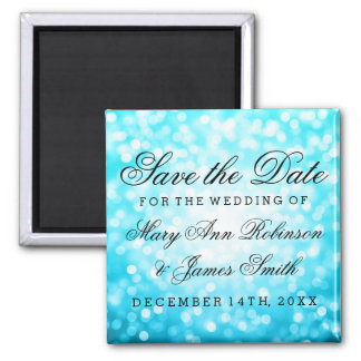Elegant Save The Date Turquoise Glitter Lights 2 Inch Square Magnet