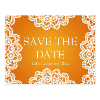 Elegant Save The Date Vintage Lace Orange Postcard