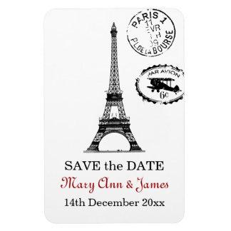Elegant Save The Date Vintage Paris Postcard Rectangular Photo Magnet