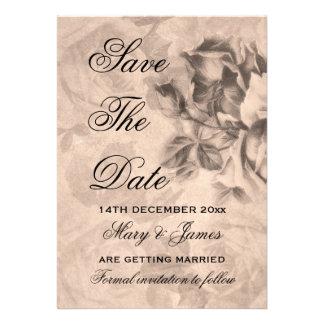 "Elegant ""Save The Date"" Vintage Roses Sepia Invitations"
