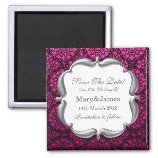 Elegant Save The Date Wedding Mod Lace Pink Refrigerator Magnet