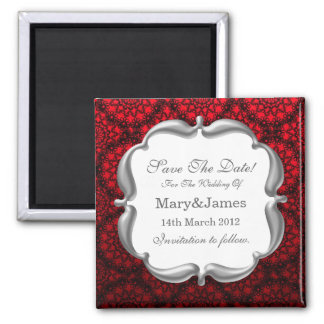 Elegant Save The Date Wedding Mod Lace Red 2 Inch Square Magnet