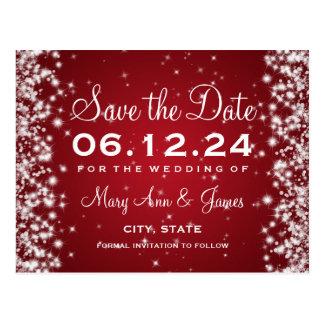 Elegant Save The Date Winter Sparkle Red Postcard