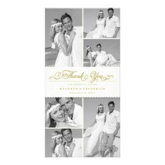 Elegant Scalloped Ivory Band Wedding Thank You Photo Card