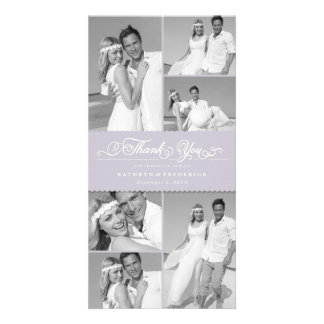 Elegant Scalloped Lilac Band Wedding Thank You Card