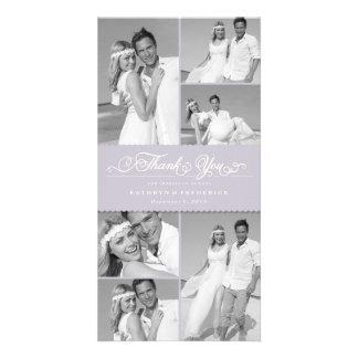 Elegant Scalloped Lilac Band Wedding Thank You Photo Card