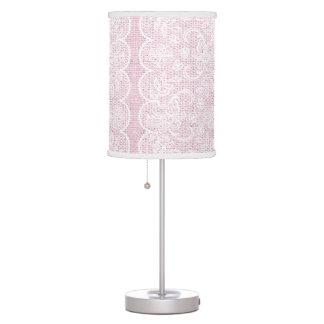 Elegant scalloped white lace on pink burlap custom table lamp
