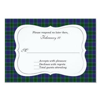 Elegant Scott Clan Tartan Wedding RSVP 3.5x5 Paper Invitation Card