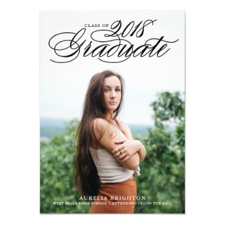 Elegant Script 2018 Photo Graduation Invitation II