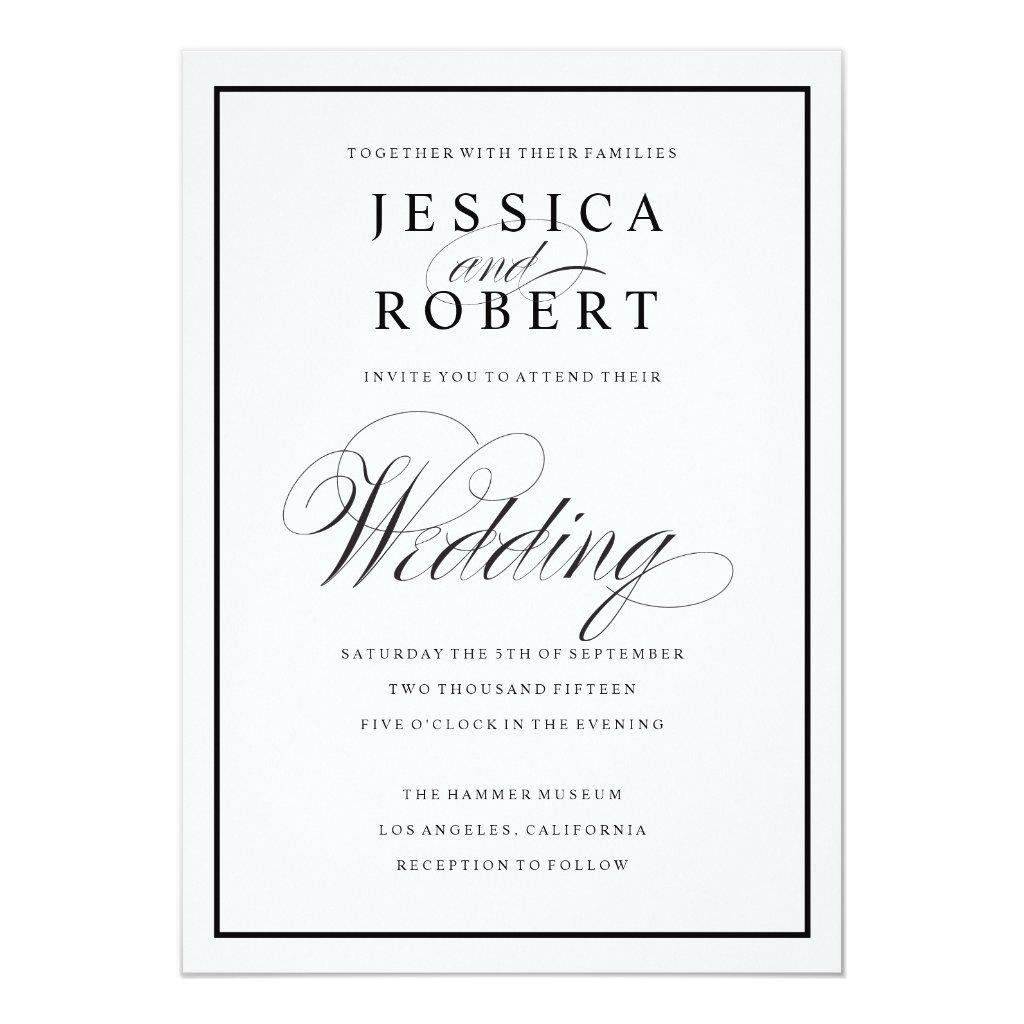 Elegant Script and Black Border Wedding Invitation