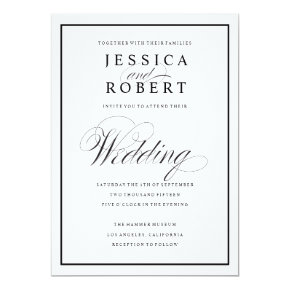 Elegant Script and Black Border Wedding Invitation