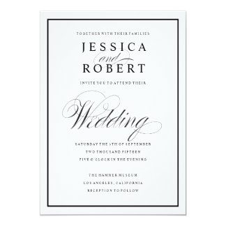 Wedding invitations wedding invitation cards zazzle elegant wedding invite elegant script and black border stopboris Choice Image