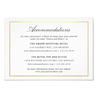 Elegant Script and Gold Border Accommodations 2 Card