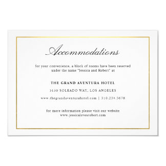 Elegant Script and Gold Border Accommodations Card