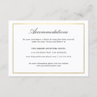 Elegant Script and Gold Border Accommodations Enclosure Card