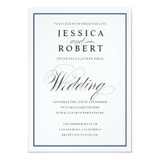 Elegant Script and Navy Border Wedding Invitation