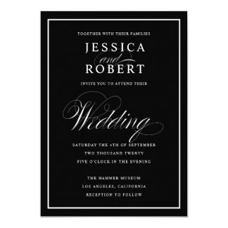Elegant Script Black & White Wedding Black Invitation