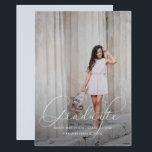 "Elegant Script Blue Gray Photo Graduation Party Card<br><div class=""desc"">Elegant Script Photo Graduation Party Invitation.</div>"