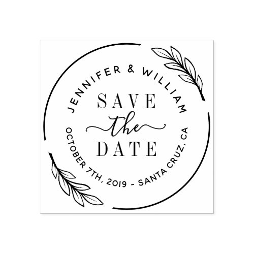 Elegant Script  Botanical Wreath Save The Date Rubber Stamp