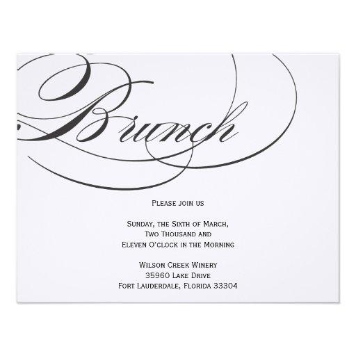 "Elegant Script Brunch Invitation - Black 4.25"" X 5.5 ..."
