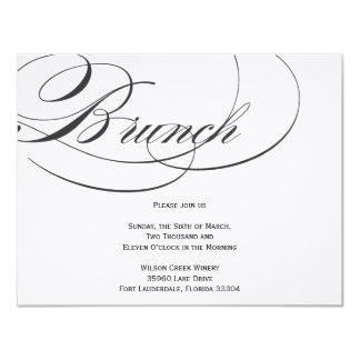 "Elegant Script Brunch Invitation - Black 4.25"" X 5.5"" Invitation Card"