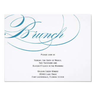 Elegant Script Brunch Invitation - Blue