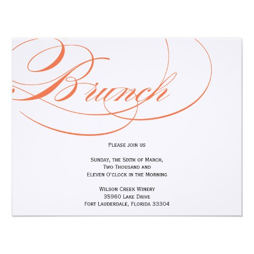 Elegant Script Brunch Invitation - Orange