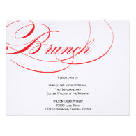 Elegant Script Brunch Invitation - Red