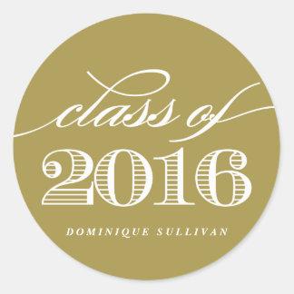 Elegant Script Class of 2016 | Gold Graduation II Classic Round Sticker