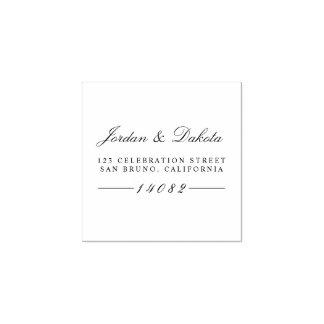 Elegant Script Custom Names Wedding Return Address Rubber Stamp