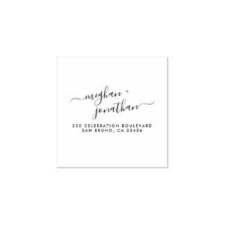 Elegant Script Custom Wedding Names Return Address Rubber Stamp